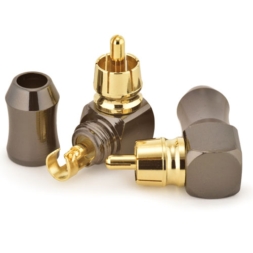 Right Angle RCA Phono Plugs with Solder Bucket