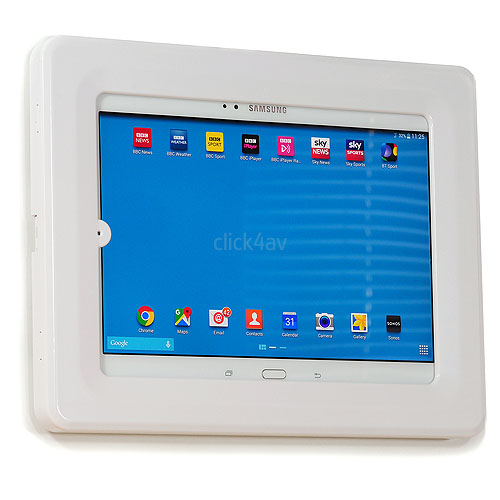 White Lockable Tablet Wall Mount Case