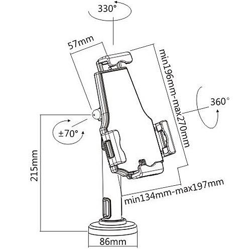 Lockable iPad Tablet Desk or Wall Mount