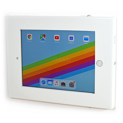 click4av TAW97L01W White Secure Tablet Wall Mount for iPad 9.7 inch